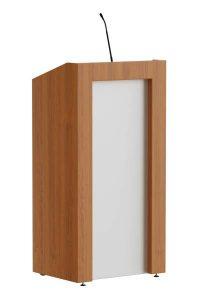 Lectern consisting of wood combined with stainless steel look front panel. Timeless conservative design. Reading light, microphone and such can be integrated as accessories.   Spreekgestoelte bestaande uit voornamelijk hout gecombineerd met RVS look voorpaneel. Tijdloos, behoudend model. Als accessoires kunnen verlichting, microfoon en dergelijke geïntegreerd worden.  Pult aus Holz kombiniert mit Edelstahloptik Frontplatte. Modernes, zeitloses Design. Zusätzliches Zubehör wie Leseleuchte, Mikrofon und ähnliche können integriert werden.