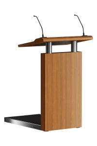 Het spreekgestoelte Step-Up heeft letterlijk een opstapje. Het geeft de spreker een extra statuur. Gemaakt uit een RVS frame en podium (met antislip mat) voorzien van houten bekleding met HPL.  The lectern Step-up literally has a step. It gives the speaker an extra stature. Made from a stainless steel frame and the podium (with a non-slip mat) is of wood with HPL cover.   Das Rednerpult Step-up hat im wortwörtlichsten Sinne, eine Stufe. Es gibt dem Sprecher eine extra Statur. Aus rostfreiem Edelstahlrahmen und das Podium (mit einer rutschfesten Matte) aus Holz mit HPL Bekleidung.