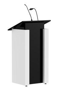Spreekgestoelte-AMYNENT-presentatie-desk-zwart-wit-schuin-voor